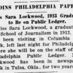 Newspaper article announcing Lockwood's position with the Philadelphia Public Ledger in 1918.