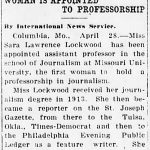 Sara Lockwood became an assistant professor at the University of Missouri School of Journalism in 1921.